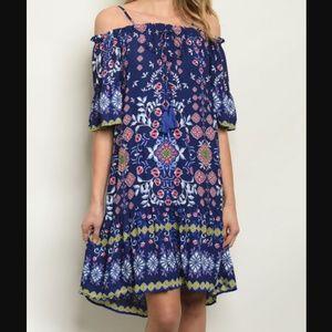 Ark & Co Off Shoulder Flute Sleeve Floral Dress